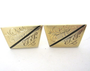 Vintage T.S. Monogram Cufflinks, Goldtone Cuff Links by Anson