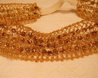 Vintage Head Band Gold Beaded Crochet
