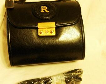 Vintage 80s Rosenio Splendid Purse Handbag Black vinyl