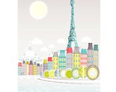 Paris Print, Seine Bridges, Eiffel Tower, Wall Art Paper Print, Skyline, Poster illustration, Art For Home, Nursery, Christmas Gift SPPPS1