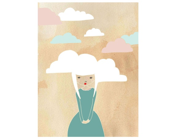 Head in the clouds, day dreaming Art Print, dreamy gift for daughter, paper art print, home, bathroom, living room, bedroom, nursery, gift
