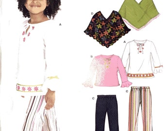 Simplicity New Look 6530 Sewing Pattern, Girls Tops and Pants with Flounces, Ponchos.  Ages 3-8