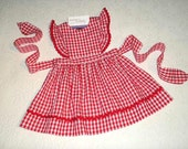 Ready to Ship Size 2T Pinafore Dress or Jumper in Red Gingham with flutter sleeves.