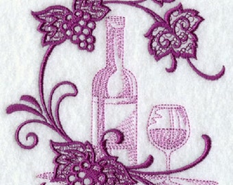 Beautiful embroidered flour sack dish towel-wine theme