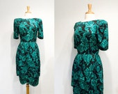 Vintage Green & Black Floral Silk Petal Skirt Cocktail Dress