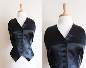 Vintage Norma Kamali Black Satin Racerback Vest