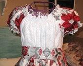 Girls Christmas Dress Pointsettia Peasant Dress size 5 Ready to Ship