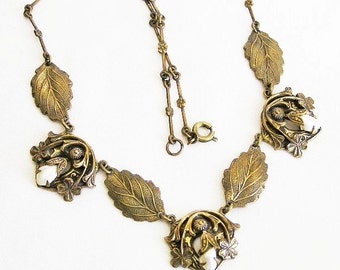 Art Nouveau c.1900 Pearl Lucky 4 Leaf Clover Necklace