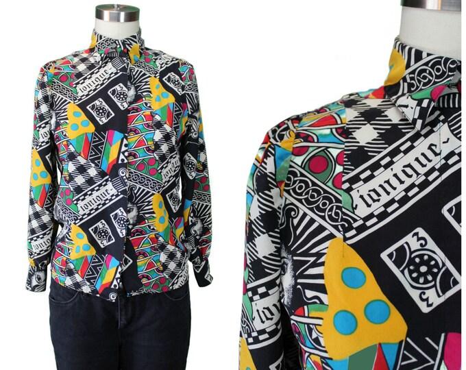 Vintage Printed Blouse/ Collage Print Blouse/ Silk Printed Blouse/ Ionique Printed Blouse/ 1980s Printed Shirt/ Multicolor Collage Blouse
