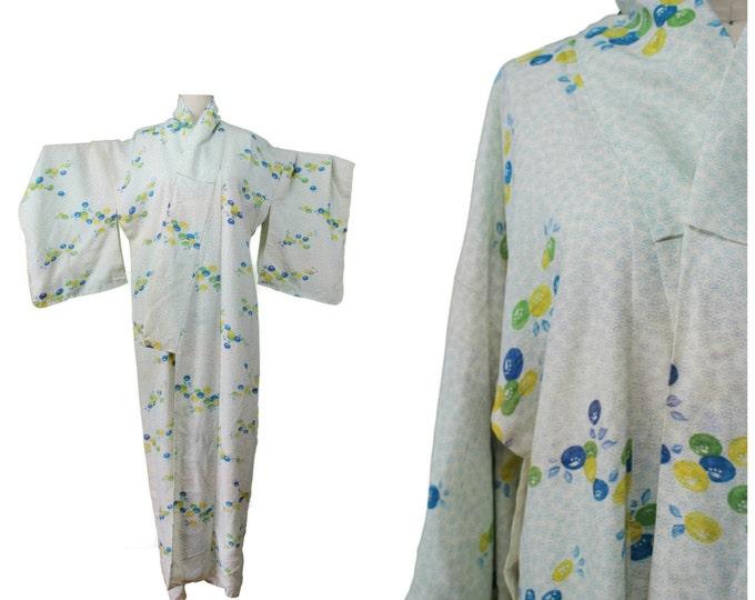 Vintage Japanese Kimono / Authentic Vintage Kimono / Festival Kimono / Spring Summer Pastel Kimono / Festival Floral Print Kimono