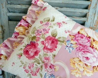 Cottage Style Shabby Chic pillow full of pinks and Roses