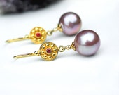 Baroque Pearl Earrings | Mauve Champagne Freshwater Pearl - Red Sapphire in Solid 14k Yellow Gold - 24k Gold Vermeil Dangles | Ready to Ship