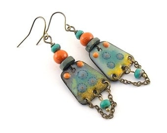 Turquoise and Orange Enameled Earrings - Brass Earrings - Turquoise Earrings - Artisan Earrings - Boho Earrings - Orange Earrings - AE132