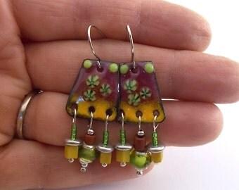 Brick Yellow Enameled Chandelier Earrings, Silver Earrings, Brick Yellow Green, Artisan Earrings, Boho Earrings, Antique Silver - AE186