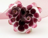 SRA Lampwork Glass Bead White and Fuchsia  Valentine Heart Focal
