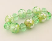 Glass Lampwork Bead Set Iridescent Green White, 'First Blooms'