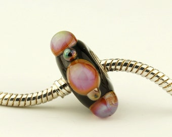 Handmade Lampwork Glass Beads, BHB Black Iridescent European Big Hole Sterling Silver Charm Bead