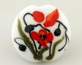 Lampwork Glass Bead, Lentil Focal White Green Orange Flowers ' Poppies'