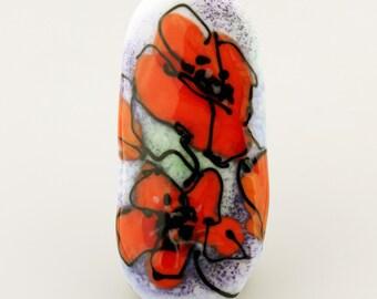 Lampwork Beads, Glass Poppy Focal White Green Orange Flowers ' Poppies'