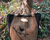 Black Friday Special Tote Waxed Canvas, Nature, Business, Appliqued, Vegan, Birds, Large interior Zipper pocket, 3 Large Open Pockets