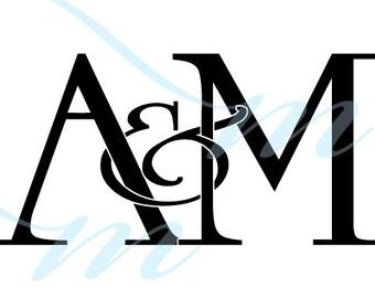 Intertwining Ampersand Monogram - A&M (instant download - JPG, PSD, PDF)