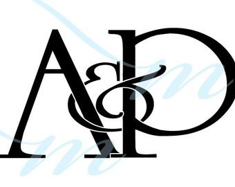 Intertwining Ampersand Monogram - A&P (instant download - JPG, PSD, PDF)