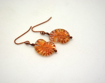 Nautilus Shell Earrings. Matching accesory for Unique, Handcrafted Necklace.  One of a Kind handmade Earrings. Brown Pressed Czech Glass.