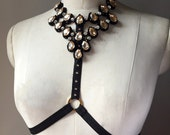 Sparkly Halter Bra Champagne & Black or White with Crystals and Beads Made to Order