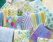 75 Matchbook Note Pads- SHADES of BLUE- Assorted  Patterns  - Priority Shipping