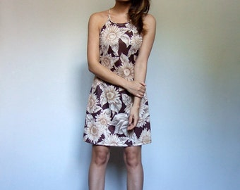 90s Dress Vintage Mini Dress Brown Floral Summer Dress Large Floral Print Mini Dress - Small S