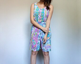 80s Womens Jumpsuit Summer Shorts Colorful Floral One Piece Playsuit Beach Cover Up - Large L