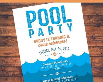 Pool Party Printable Birthday Invite  - 4x6 or 5x7 digital design