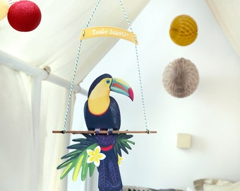 Bird Mobil Toucan, Illustrated paper mobile