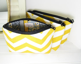 Small makeup bag, set of 3 cosmetic pouch, zipper pouch, bridesmaid gift, small clutch, 3 makeup bags, Yellow chevron