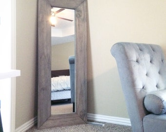 Handcrafted Full-length Upright Framed Mirror - Hand Distressed, Painted or Stained - Custom Woodworking - Rustic Country Home Decor