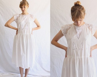 vintage white Indian cotton dress 80s does 20s embroidered