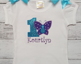 PURPLE and TURQUOISE Crystal Butterfly PERSONALIZED Birthday Shirt Or Onesie 1st 2nd 3rd 4th 5th 6th 7th 8th Birthday