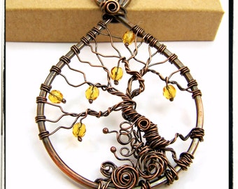 003 Antique Copper Faerie Yellow Topaz Gemstone Wire Wrapped Tree of Life Pendant with Chain