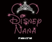 "8"" Minnie Mouse Disney Nana (Grandmother) tiara iron on rhinestone transfer your color choice"