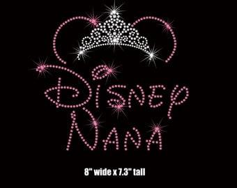 "8"" Minnie Mouse Disney Nana (Grandmother) tiara iron on rhinestone transfer your color choice"