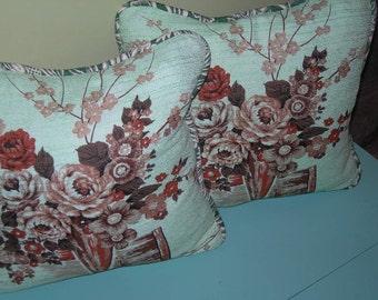 "Vintage Barkcloth 18"" pillow"