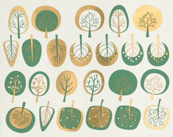 Modern Trees - Decals for Ceramic, Glass and Enamel