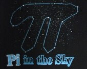 FLASH SALE Pi in the Sky scientific geek shirt tshirt men medium Big Bang Theory geek chic 38 nerd astronomy space