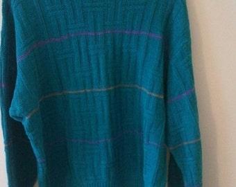 FLASH SALE 80s sweater aqua aquamarine jumper pullover eighties Colours by Alexander Julian l xl new wave square pegs xl l