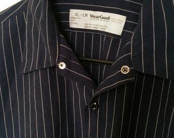 men's uniform shirt pinstripe striped XL work shirt grunge 80s mechanic boho