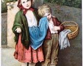 The Beggar Children, Victorian Advertising Card:  Cold Remedy
