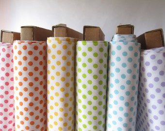 Pastel Rainbow of Small Dots on White - Fabrics by Riley Blake Designs - Fabric Fat Quarter Bundle - 1.5 Yards Total