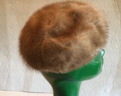 GIMBELS Autumn Haze MINK Fur Pill Box Vintage Hat