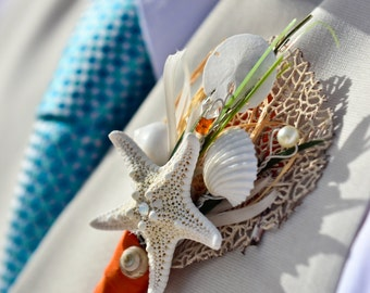 Beach Wedding Boutonniere - Natural Seashell - Sea Fan and Starfish Bout - Custom made for your Wedding - Your Colors