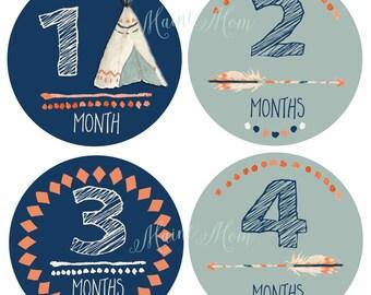 FREE GIFT,  Tribal Baby Boy Month Stickers, Baby Boy Monthly Stickers, Arrows, Chevron, Tepee, Navy, Blue Orange  Tribal Nursery Decor Gift
